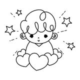 Line Cute Boy Child With Hearts And Stars Royalty Free Stock Photo