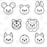 Line cute cartoon animals face icon set, vector illustration royalty free illustration