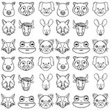 Line cute heads wilds animals background. Vector illustration Royalty Free Stock Photography