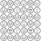 Line cute heads wilds animals background. Vector illustration Stock Image