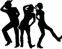 Line dance group. Vector sports stock illustration