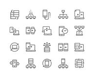 Line Data Exchange Icons. Simple Set of Data Exchange Related Vector Line Icons. Contains such Icons as Phone Backup, Traffic, Sync and more. Editable Stroke Stock Image