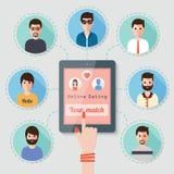 On-line-Datierung über Soziales Netz Lizenzfreies Stockfoto