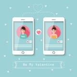 On-line-Datierung über Soziales Netz Stockbilder