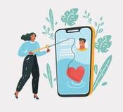 On-line-Datierung, virtuelle Liebe vektor abbildung