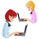 On line dating, pretty girl typing Stock Images