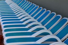 Line of deck chairs Royalty Free Stock Images