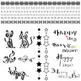 Line decorative and calligraphy design set Royalty Free Stock Photos