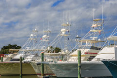 Line of Deep Sea Charter Fishing Boats. Long line of docked deep sea charter fishing boats royalty free stock photography