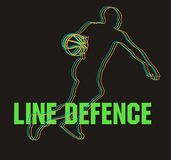 Line defence. Silhouette of volleyball man player on isolated black background stock illustration