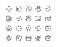Line 360 Degree Icons. Simple Set of 360 Degree Image and Video Related Vector Line Icons Stock Photos