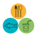 Line delicious food isolated icon. Illustration design Stock Photo