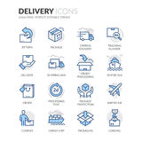 Line Delivery Icons Royalty Free Stock Photo