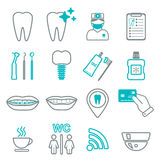 16 line of dental icons. Isolated. Color block.  Royalty Free Stock Photography