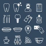 16 line of dental icons. White.  Royalty Free Stock Image