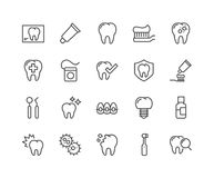 Line Dentist Icons. Simple Set of Dentist Related Vector Line Icons. Contains such Icons as Implant, Electric Toothbrush, Floss and more. Editable Stroke. 48x48 royalty free illustration