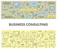 Line design concept banner for business consulting. Linear  illustration Stock Images