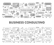 Line design concept banner for business consulting. Linear  illustration Stock Photo