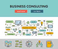 Line design concept banner for business consulting. Vector landing page Stock Photos
