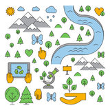 Line design concept for ecology Royalty Free Stock Images