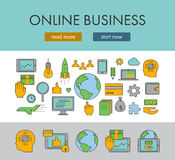 Line design concept horizontal banner for online business. Vector landing page and linear icons Royalty Free Stock Image