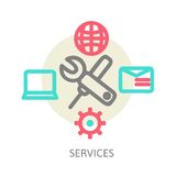 Line design concept icons for web services. And apps. Icons for web design, application development, services and programming Stock Photos