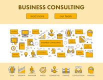 Line design concept web banner for business consulting. Line design concept web banner and icons for business consulting. Vector landing page. Black and yellow Royalty Free Stock Image