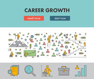 Line design concept web banner for career growth Stock Image