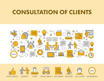 Line design concept web banner and icons for consultation of cli Royalty Free Stock Images