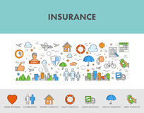 Line design concept web banner and icons for insurance. Royalty Free Stock Photo