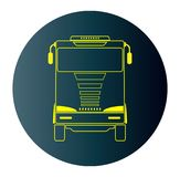 Line Design Icon of Front View Truck  in Blue Dark Background Royalty Free Stock Images