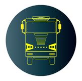 Line Design Icon of Front View Truck  in Blue Dark Background Royalty Free Stock Photo