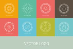 Line design logos and icons elements for cards or Royalty Free Stock Photography