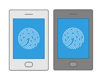 Line design symbol fingerprint smartphone. Royalty Free Stock Photo