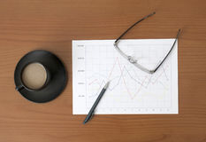 Line diagram on the worktable Stock Images