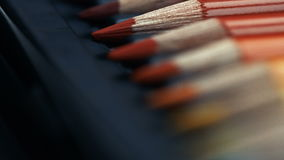 Line of different colored pencils in box. Sparkling. Line of different colored pencils in box.Sparkling. Super macro stock footage