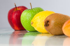 Line of different fruits Royalty Free Stock Image