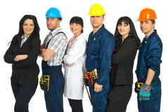 Line of different workers Royalty Free Stock Images