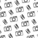 Line digital camera electronic object background. Vector illustration stock illustration