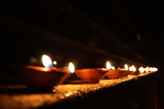 Line of Diwali Lamps Royalty Free Stock Photo