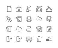 Line Document Icons Royalty Free Stock Photography