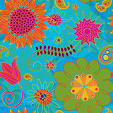 Line Doodles Bright Seamless Background Pattern royalty free illustration