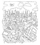 Line draw, futuristic city architecture Stock Image