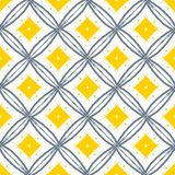 Line draw yellow folk pattern. Yellow diamond with black line ve Stock Images