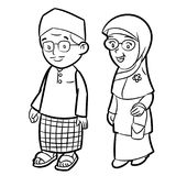 Line Drawing of Adult Malay Cartoon -Character Vector