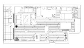 Line drawing apartment floor plan. On a white background stock illustration