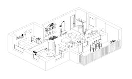 Line drawing apartment floor plan. On a white background Stock Image