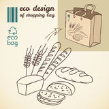 Line drawing of bakery products for shopping bag Stock Image