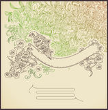 Line drawing banner with birds and flowers Royalty Free Stock Photography