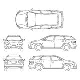 Line drawing of car white vehicle, vector computer art Royalty Free Stock Image